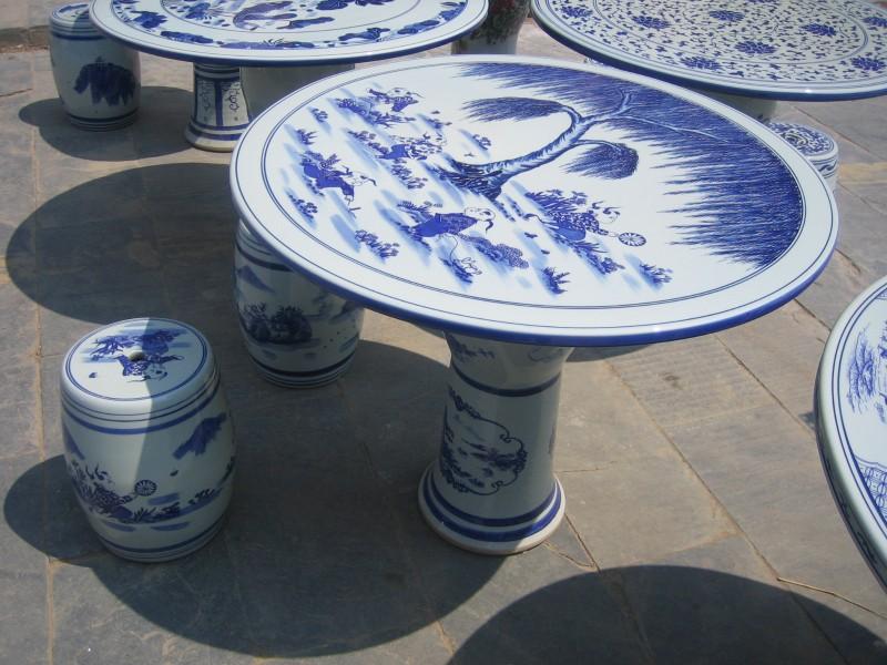 特价景德镇釉上粉彩春风得意款陶瓷桌凳套装户外庭院桌椅套件组合