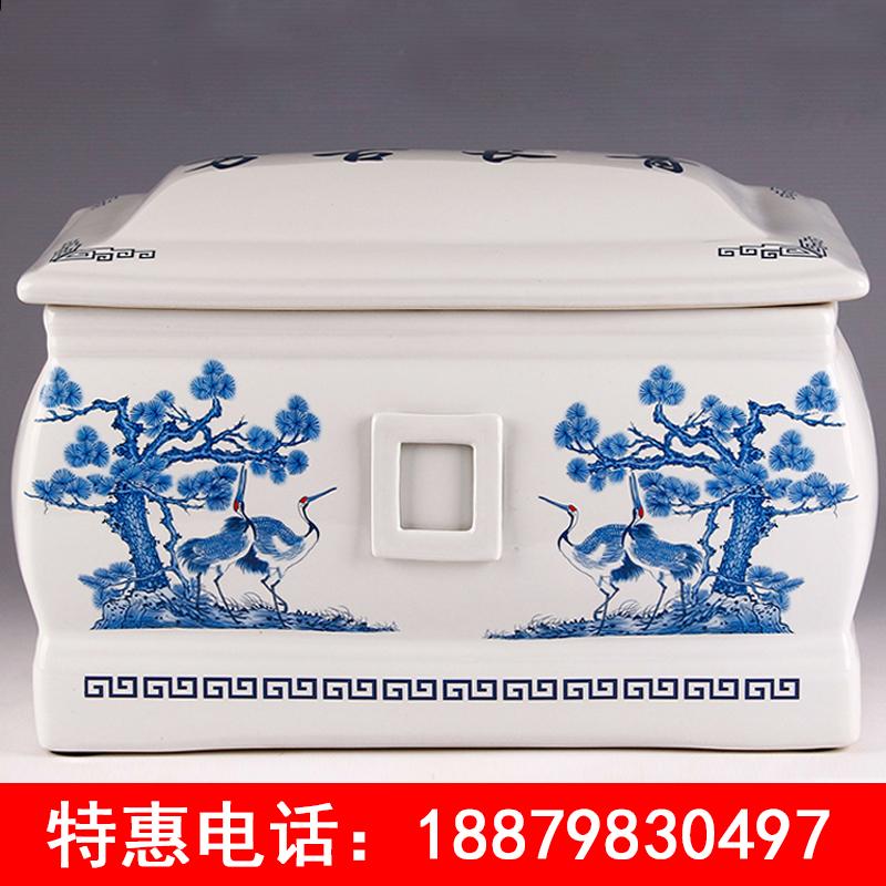 厂家直销 定制陶瓷器寿盒棺材 迁坟捡骨加大男女用款 青花骨灰盒坛罐盅